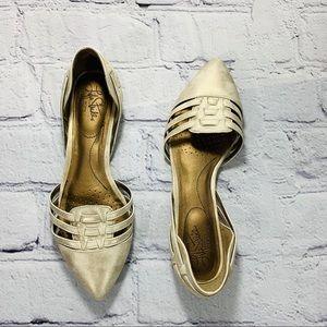 Life Stride Cream/Gold D'Orsay Flats Sz. 7.5